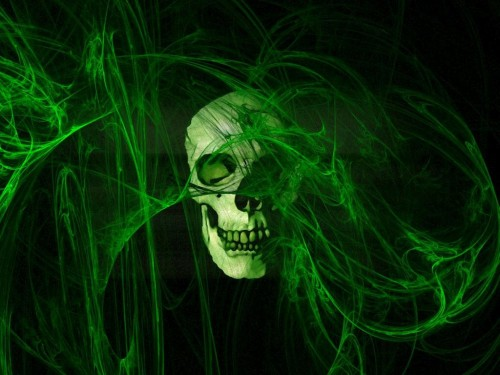 3D Green Scary Skull Wallpaper