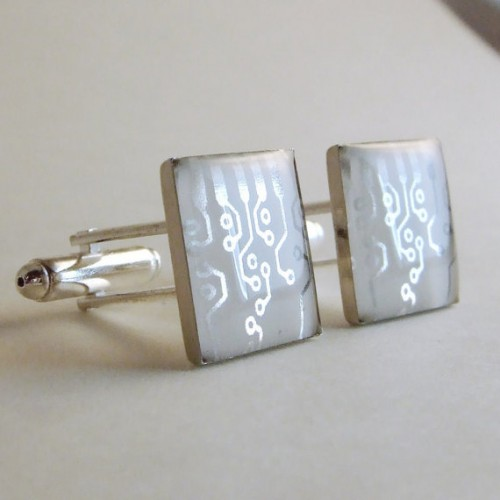 Metallic Silver Circuit Design Cufflinks