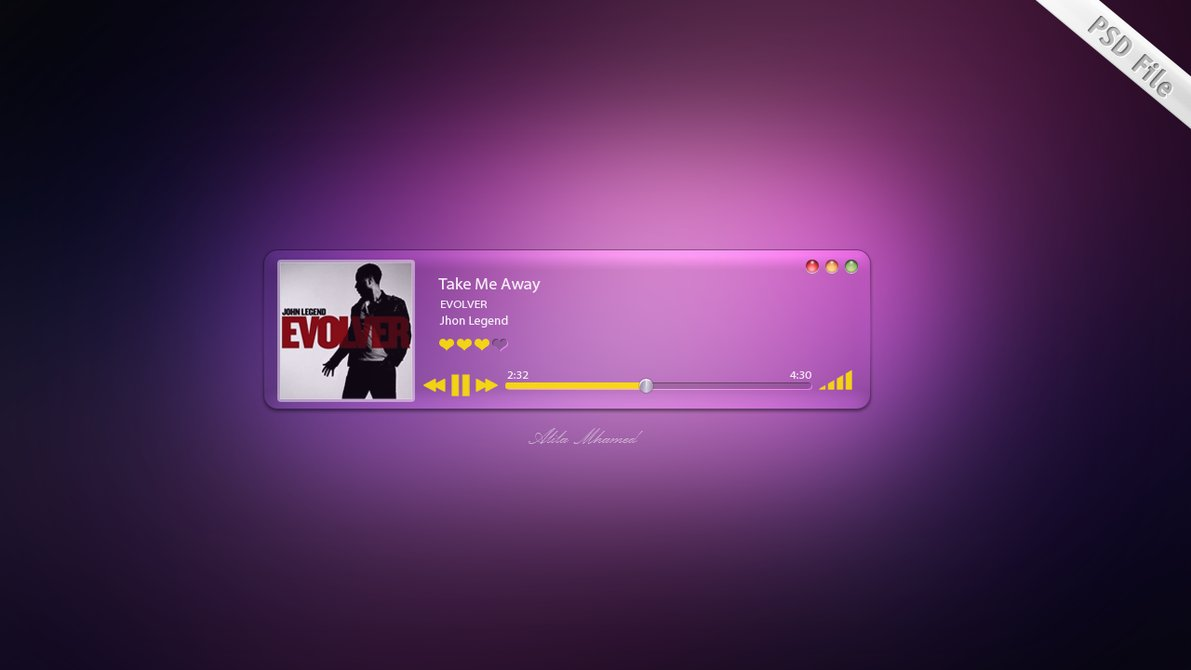 PSD Music Player UI Designs