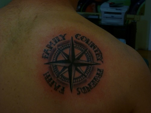 Men Compass Tattoo Design