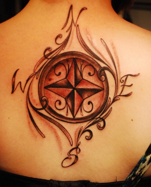 Women Back Compass Tattoo