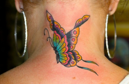 Colorful Butterfly Tattoos on Neck