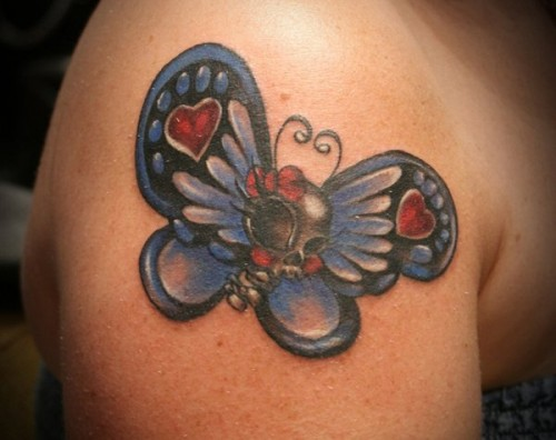 Skull Butterfly Color Tattoo