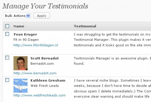 Testimonials Manager