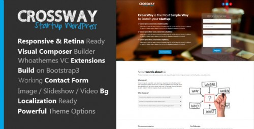 CrossWay - Startup Landing Page Booststap WP Theme