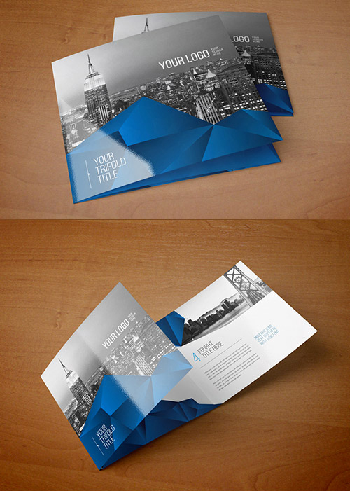 Square Blue Abstract Trifold
