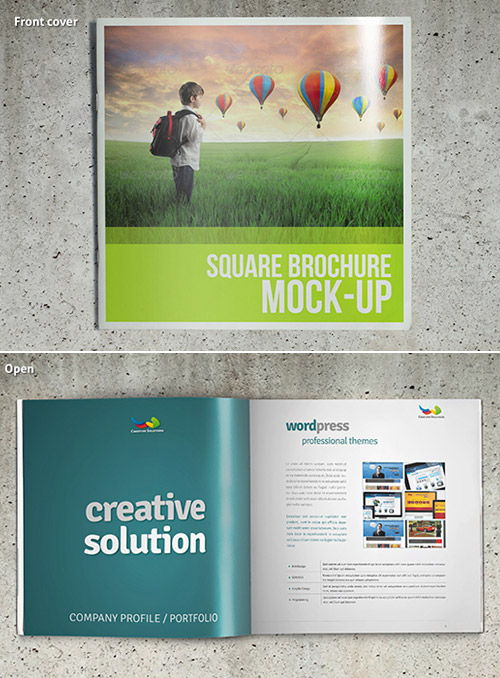Trendy Square Brochure Mockup